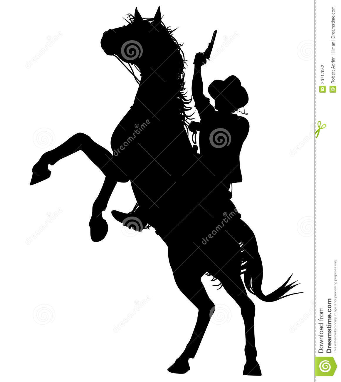 Horse Rearing With Rider Silhouette