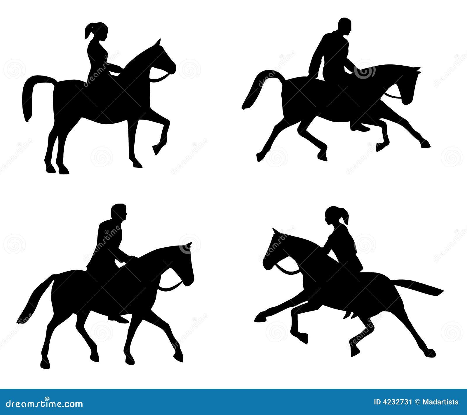Horseback Riding Silhouettes Stock Illustration Illustration Of Horse Horseback 4232731