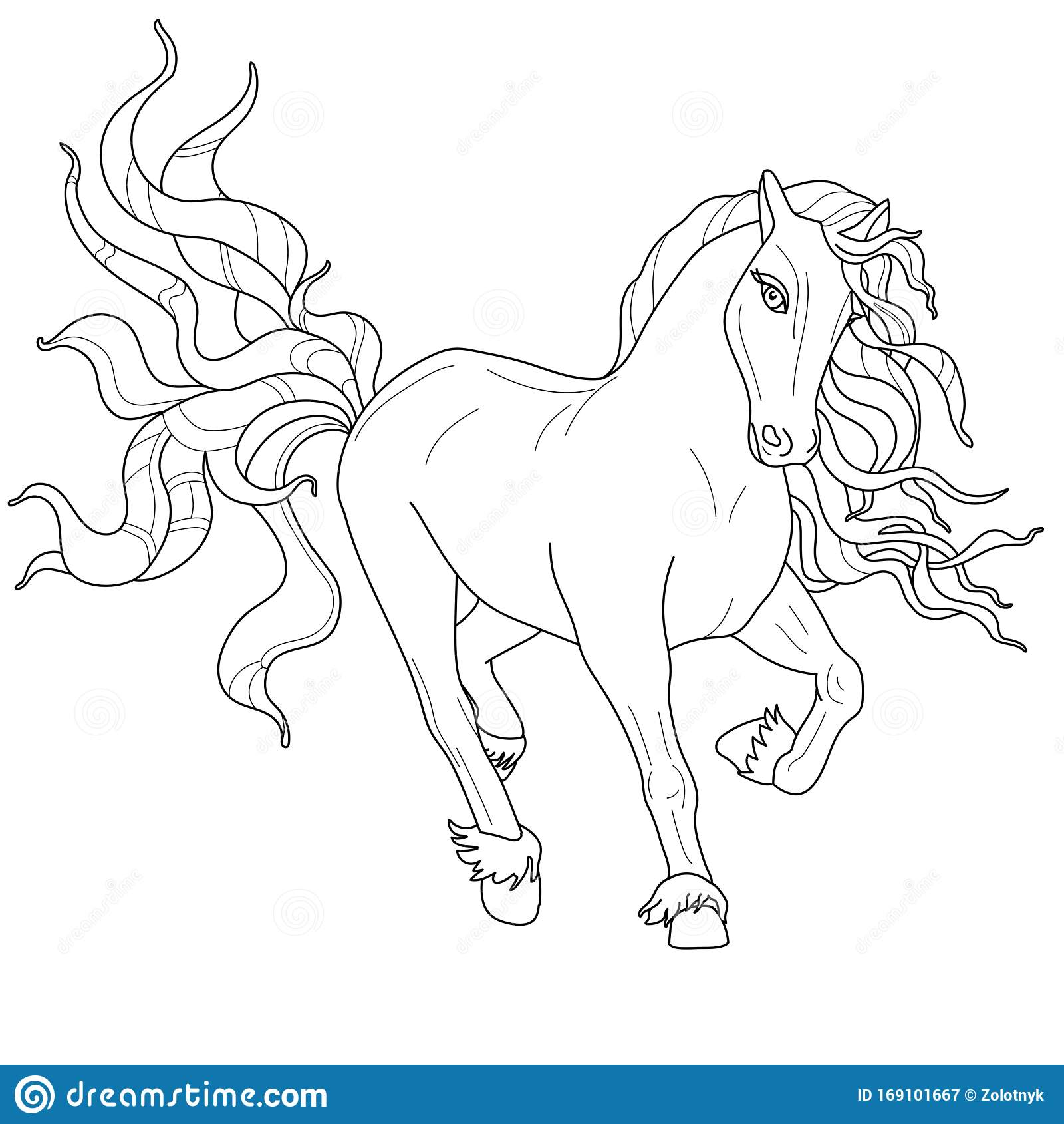 Running Arabian Horse coloring page | Free Printable Coloring Pages | 1689x1600