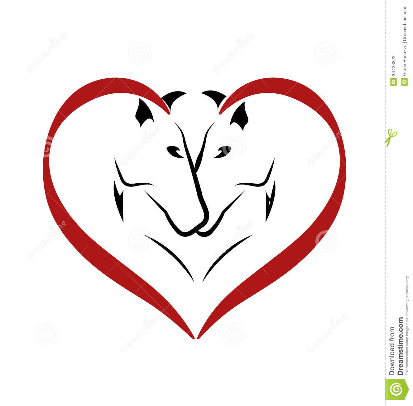 Horses In Love Logo Stock Photography - Image: 34426322