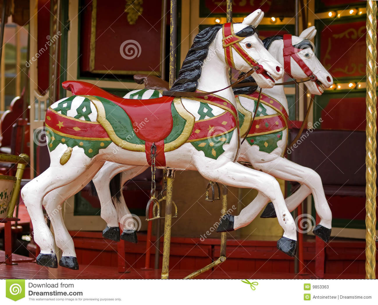 Horses on merry go round stock image. Image of happy ...