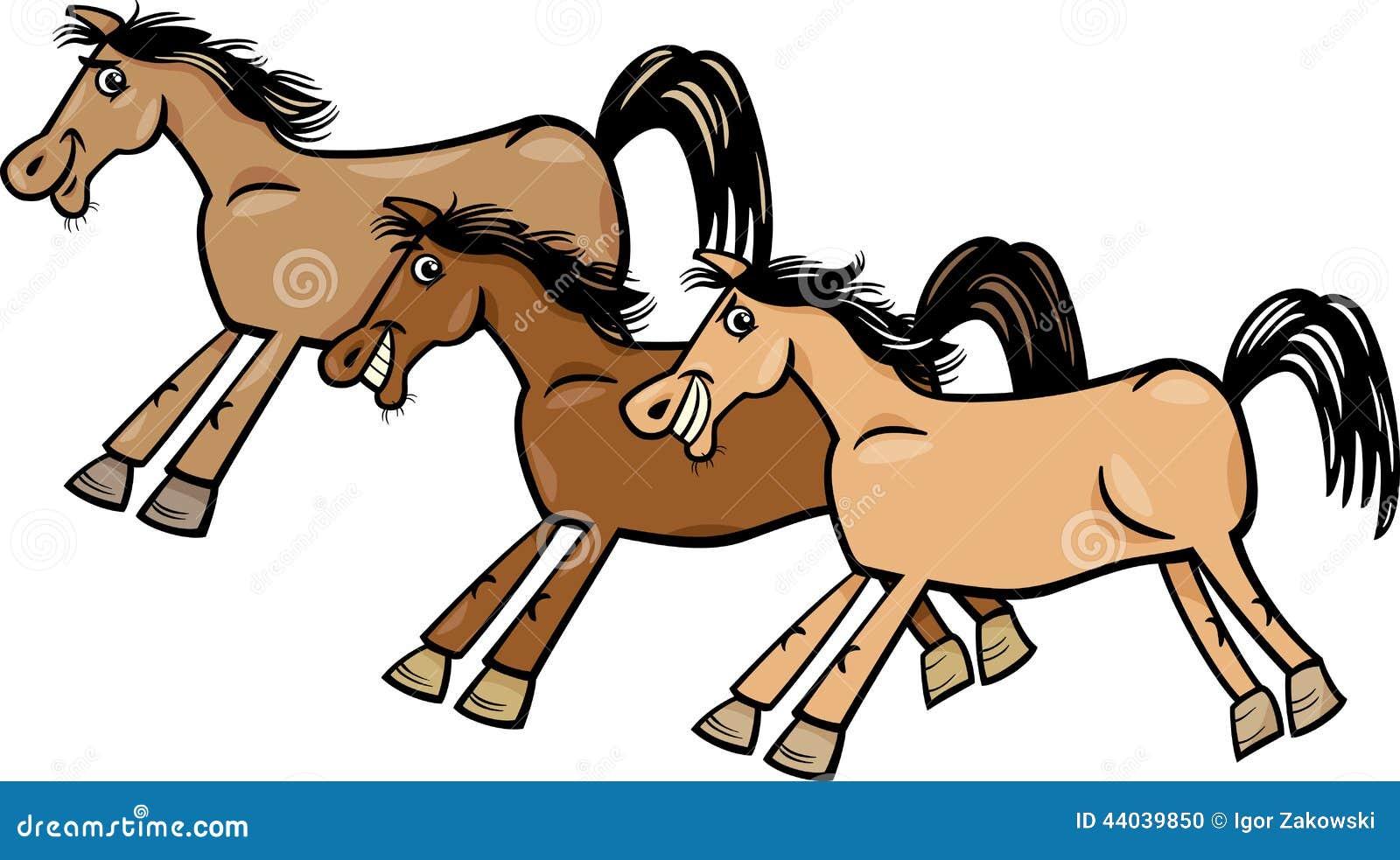 horses or mustangs cartoon illustration stock vector illustration rh dreamstime com cartoon pictures of horses legs cartoon pictures of horses stuck in snow