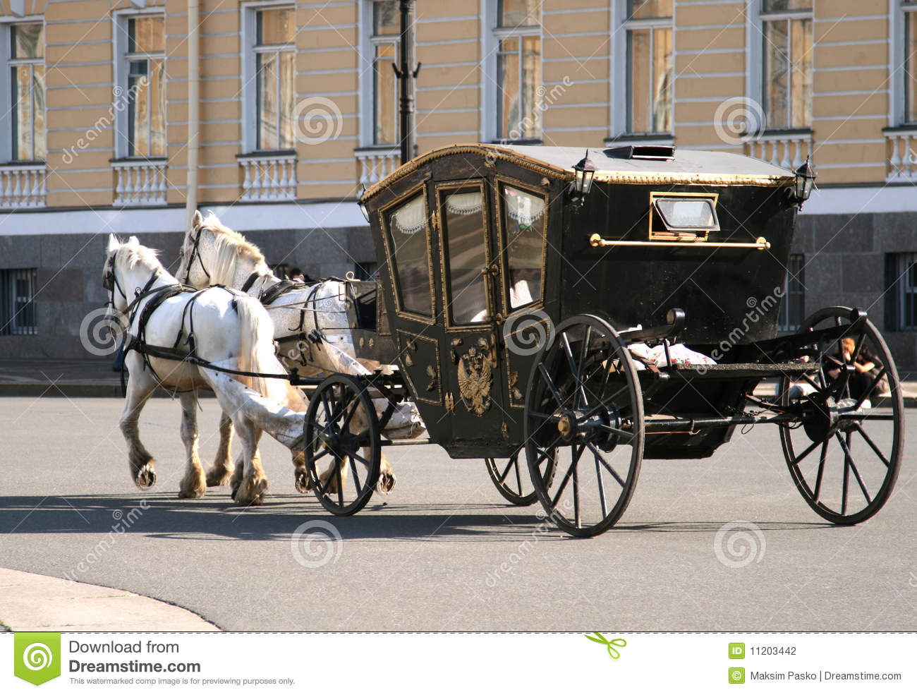 Horses pulling carriage