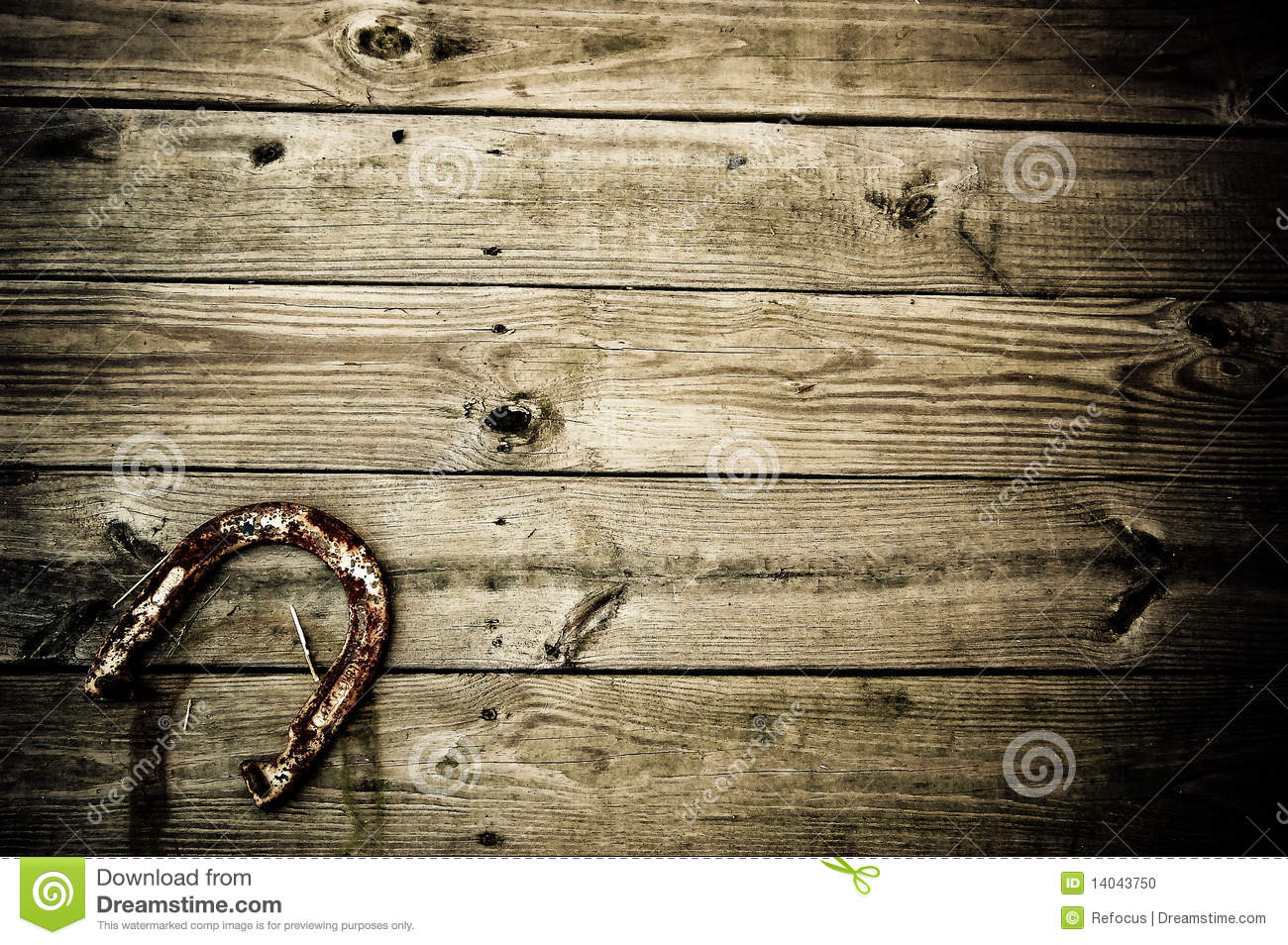 Horseshoe and wooden plank Background.