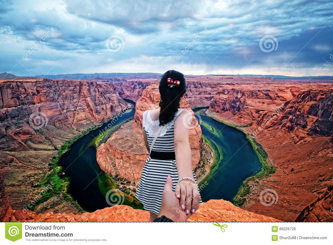Horseshoe Bend Arizona, Follow Me To Stock Photo - Image: 66226726