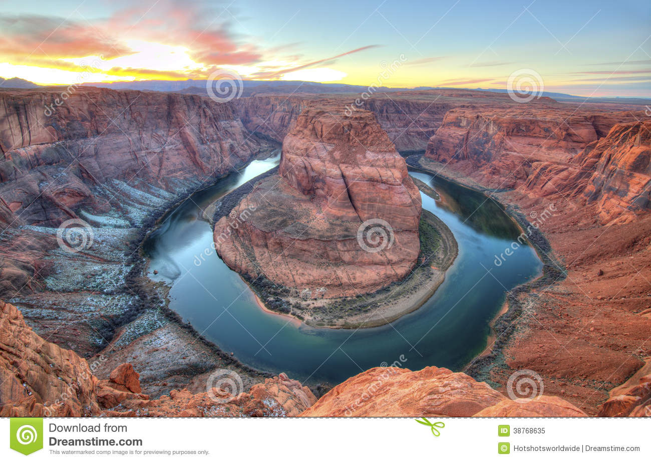 ... eroded red rock sandstone colorado river 180 degree turn headland
