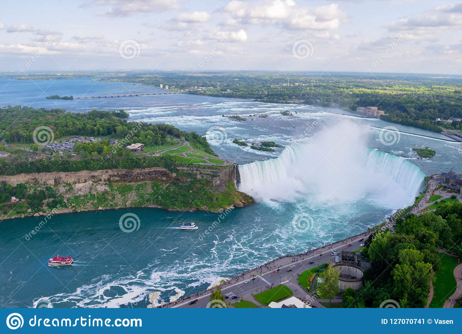 Horseshoe Falls Aerial View From The Canadian Side Canada Usa Stock Image Image Of Canadian Canada 127070741