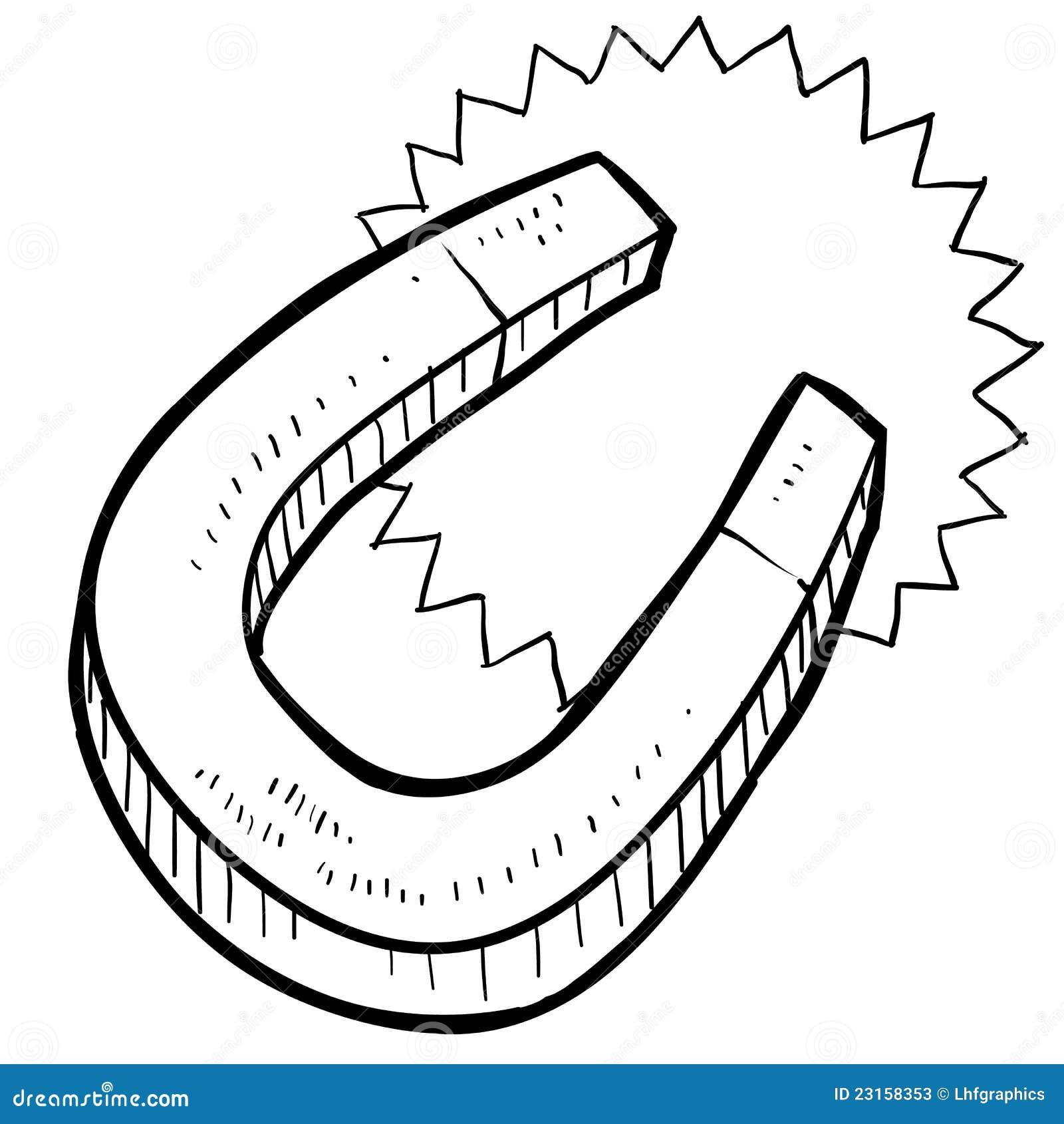 Horseshoe Magnet Sketch Stock Vector Illustration Of