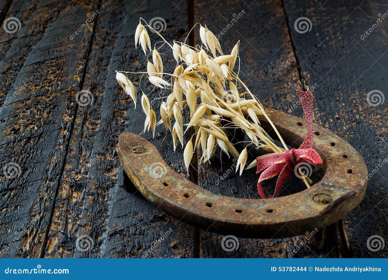 Horseshoe And Oats Symbols Of Good Luck And Prosperity Stock Photo