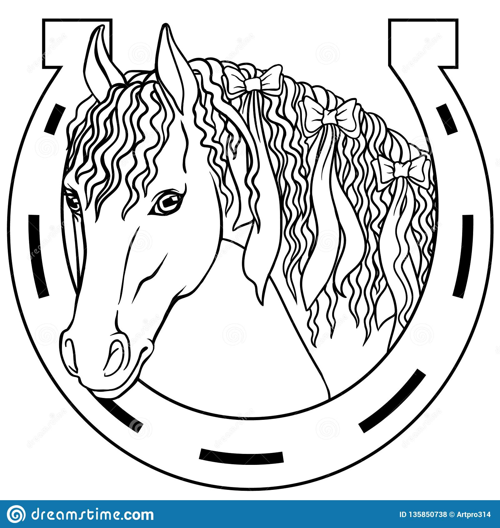 Horse - Outline Drawing Coloring Book, Good Luck Charm Stock Vector ...