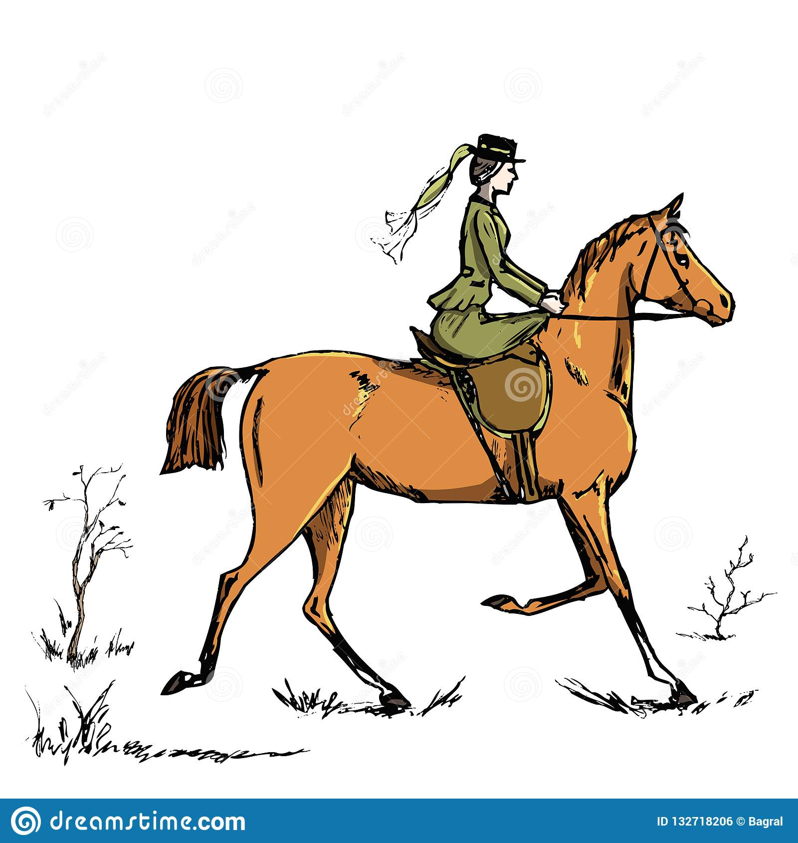 Horsewoman Horse Rider English Style Historic Horseback Lady Riding Habit Woman On Red Horse Stock Illustration Illustration Of Rider Hand 132718206