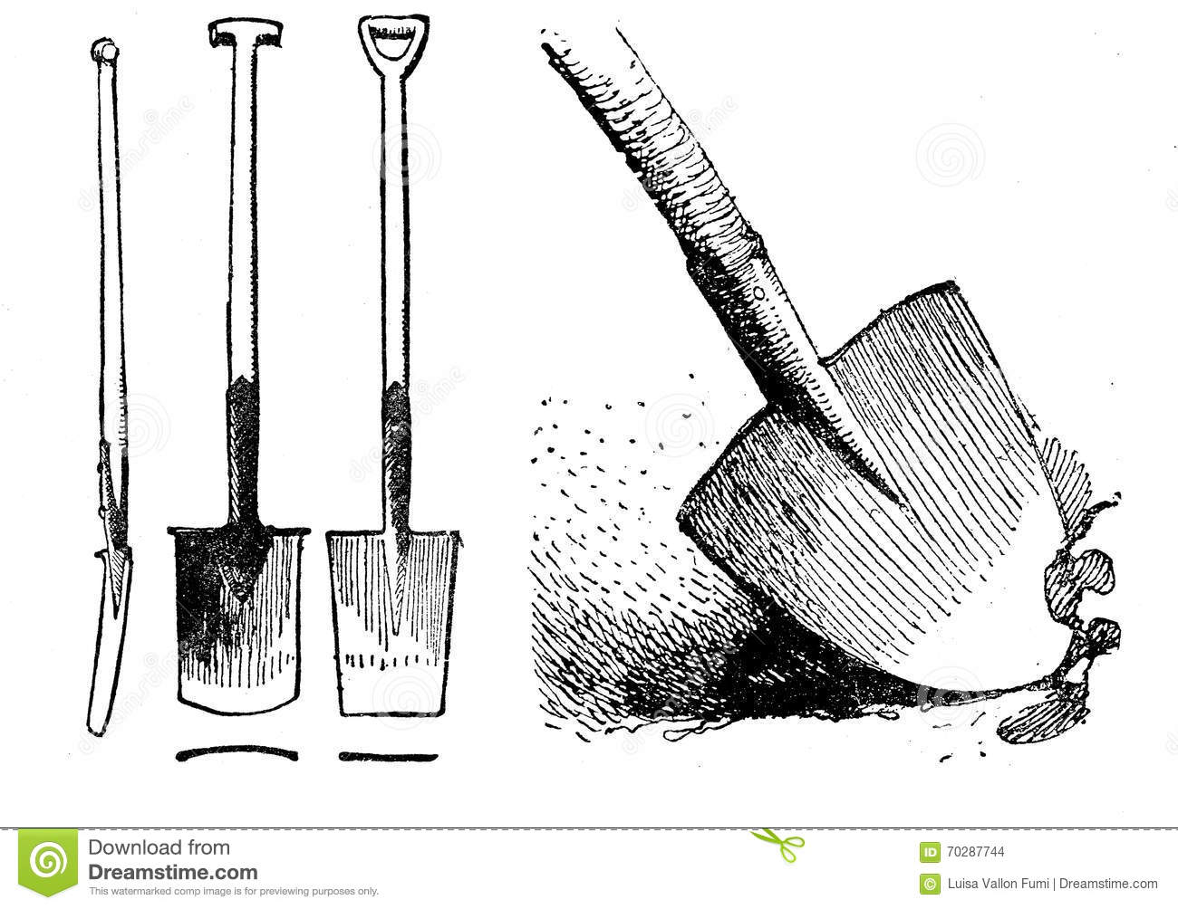 Horticulture vintage illustration different shapes of for Different tools and equipment in horticulture