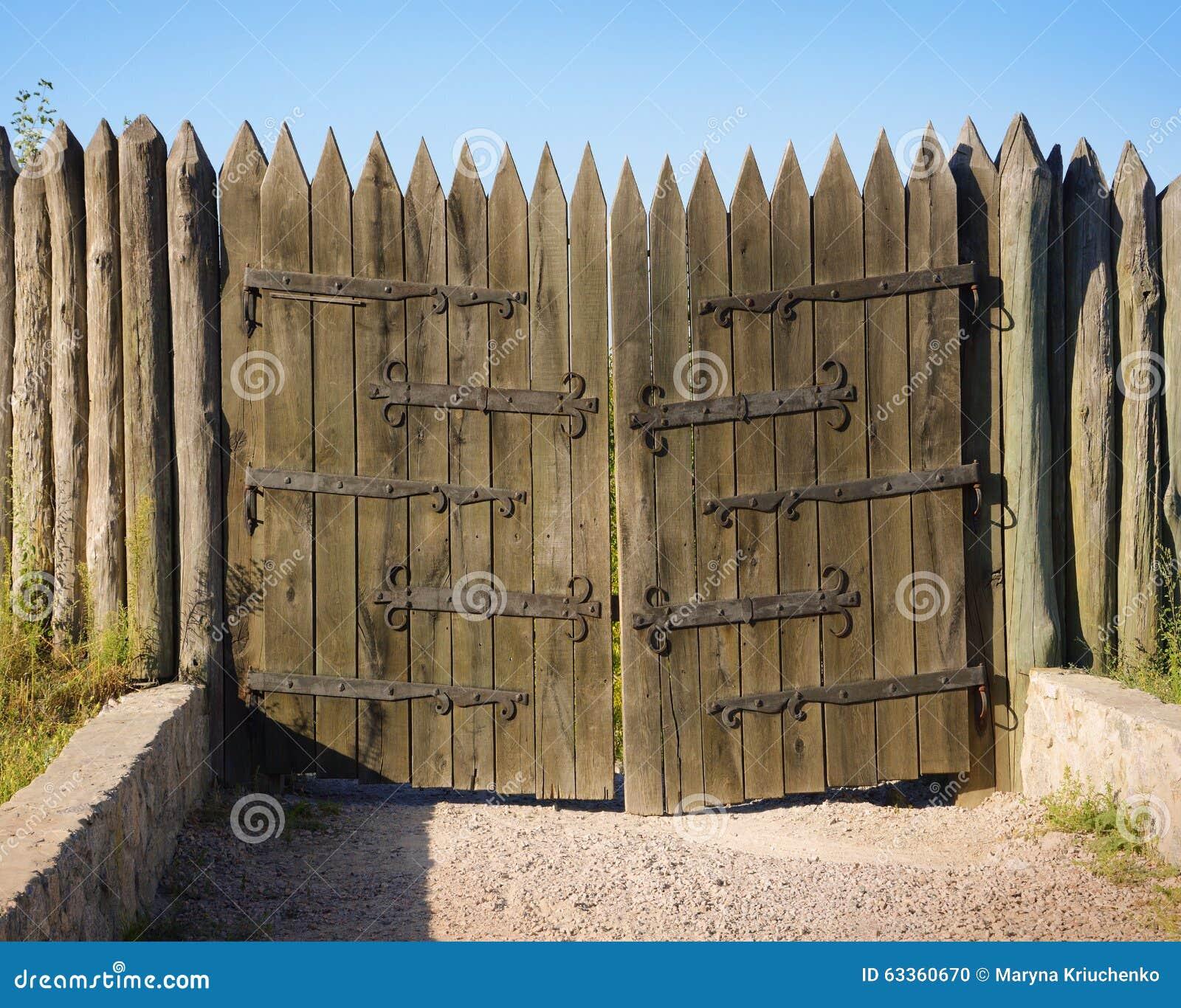 Hortitsa vintage wooden gates stock photo image