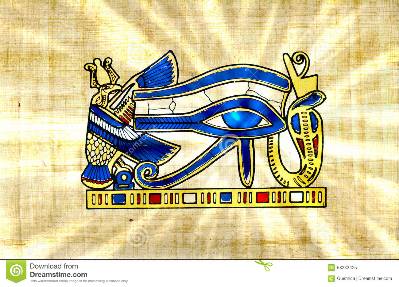 Eye of Horus symbol old paper papyrus with Ra sun rays