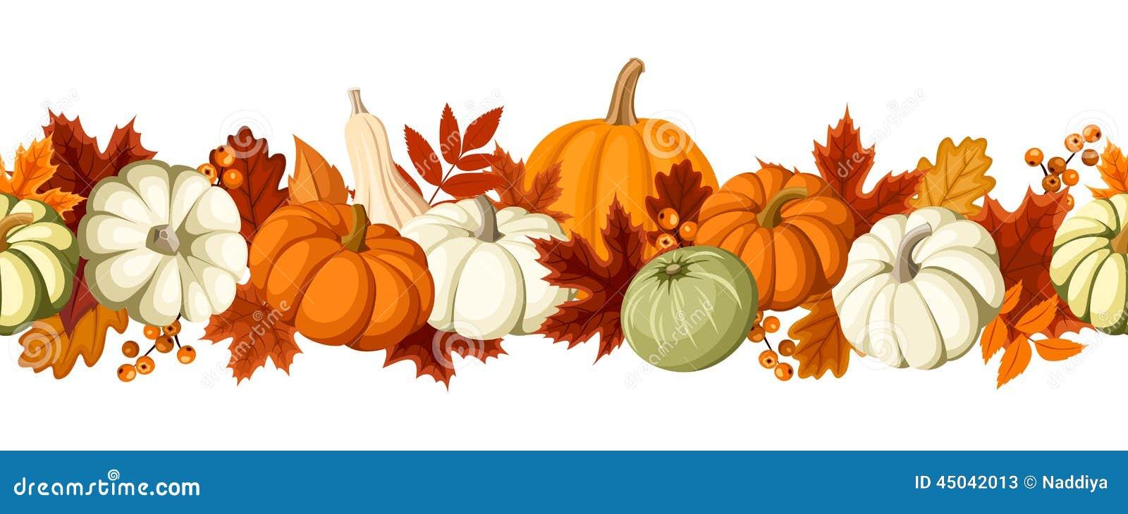 Horyzontalny bezszwowy tło z baniami i jesień liśćmi również zwrócić corel ilustracji wektora