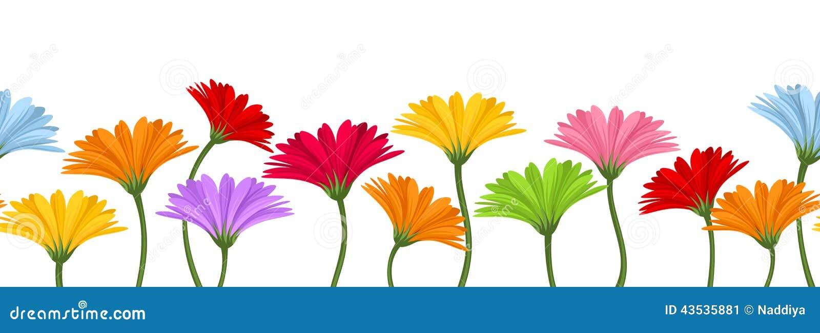 Horyzontalny bezszwowy tło z kolorowymi gerbera kwiatami również zwrócić corel ilustracji wektora