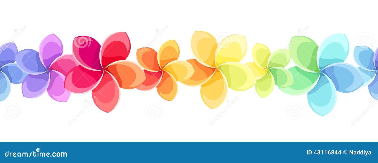 Horyzontalny bezszwowy tło z kolorowymi kwiatami również zwrócić corel ilustracji wektora