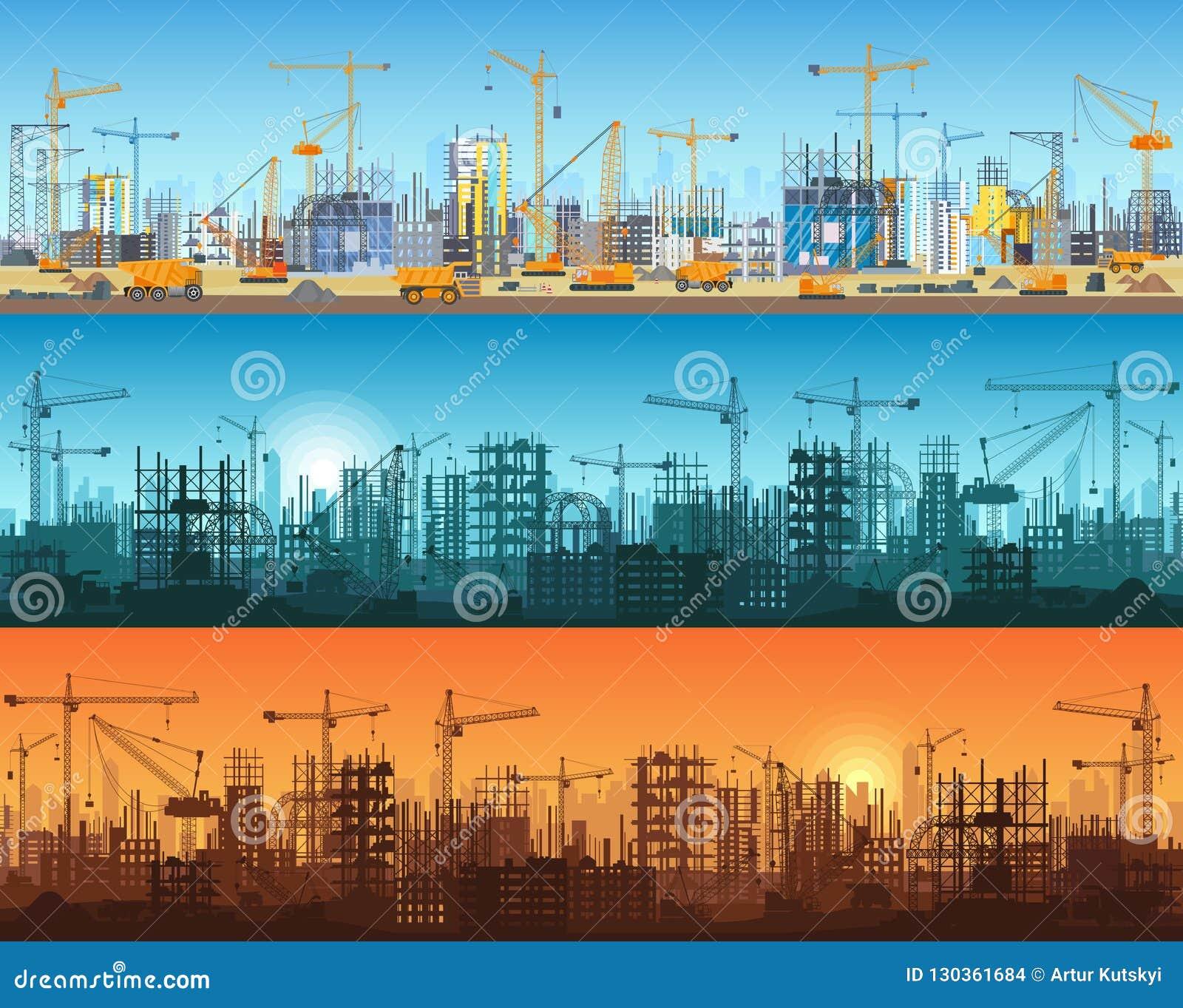 Horyzontalny sztandar miasto lub strony internetowej budowa Ciągniki, równiarka, buldożery, ekskawatory i basztowi żurawie z,