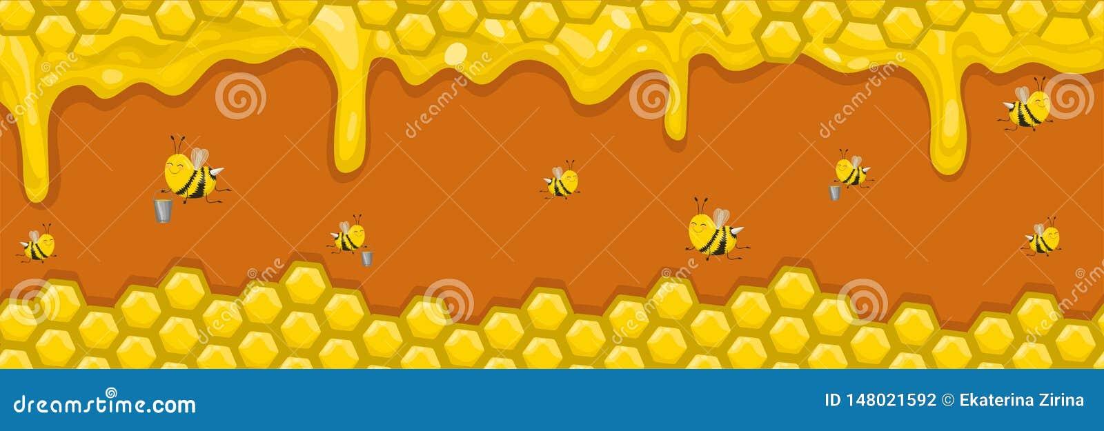 Horyzontalny sztandar z honeycombs, miodem i pszczo?ami, Pszczo?y nios? mi?d w wiadrach r?wnie? zwr?ci? corel ilustracji wektora