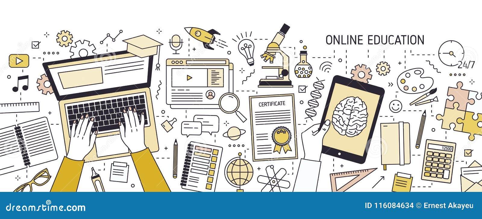 Horyzontalny sztandar z rękami pisać na maszynie na laptop klawiaturze i różnorodnych biurowych dostawach Online lub dystansowa e
