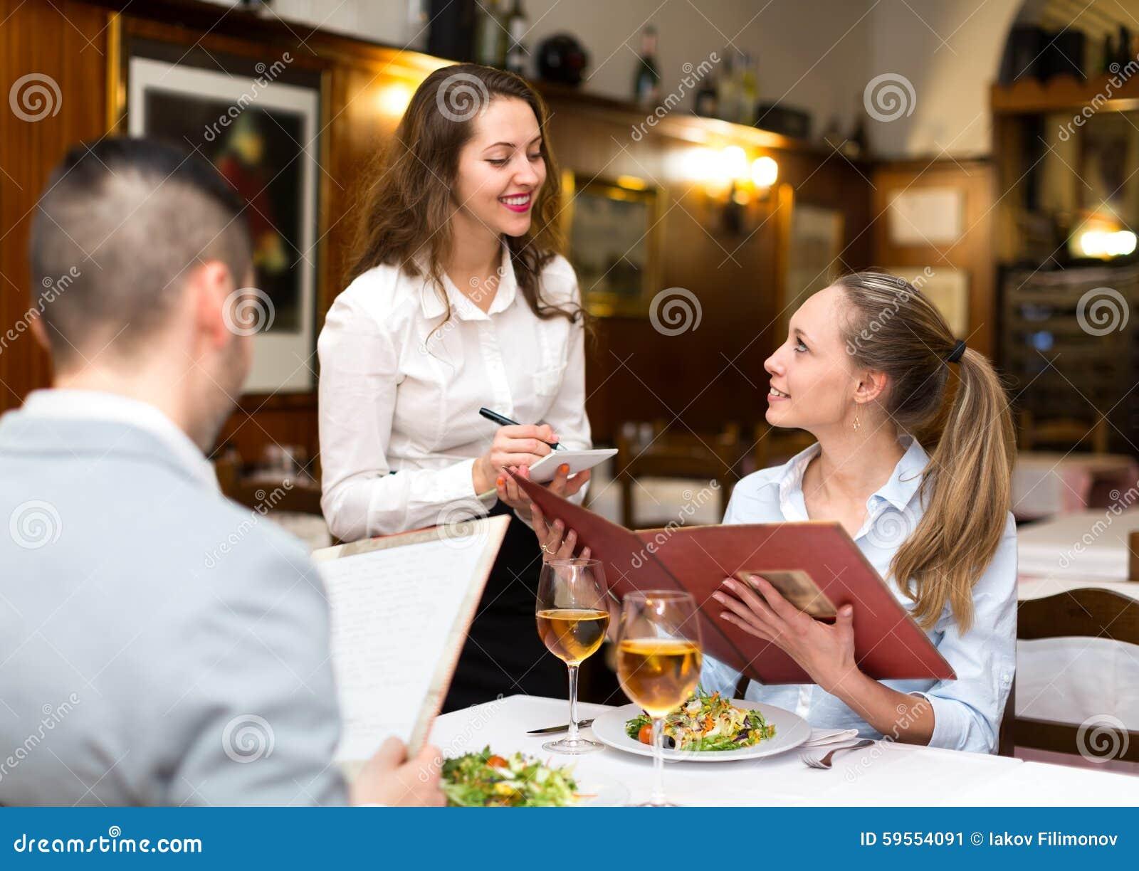 Fine Dining Waitress Hair Styles fine dining server  : hospitable waitress taking order couple rural restaurant 59554091 from hnczcyw.com size 1300 x 1011 jpeg 143kB