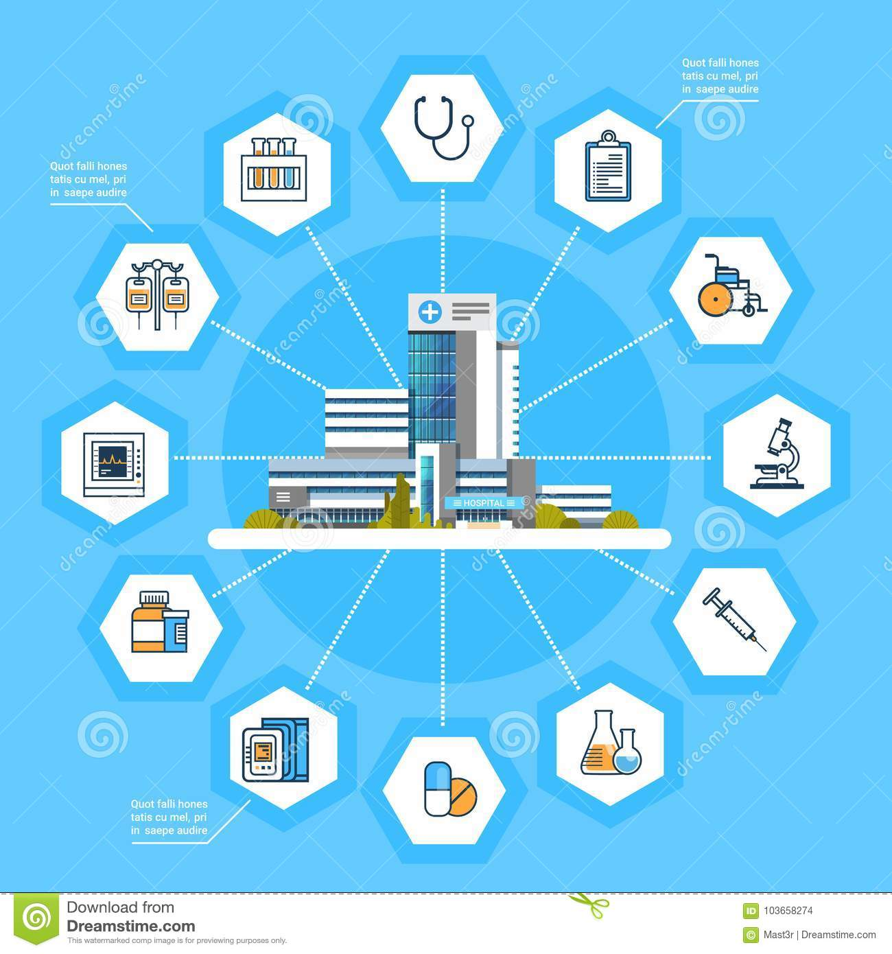 Hospital Application Interface Online Medical Treatment Icons Modern