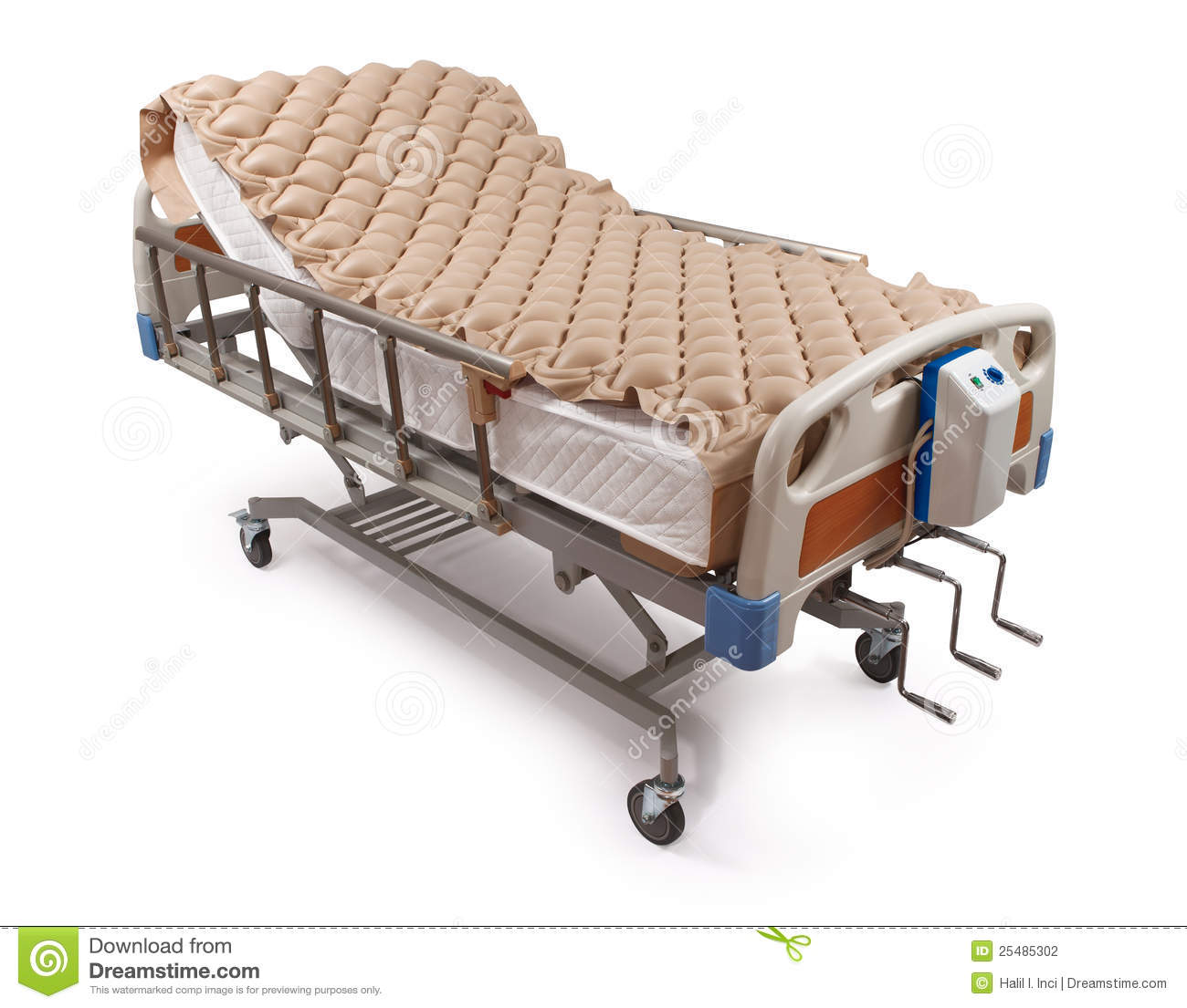 Hospital Bed With Air Mattress Clipping Path Stock