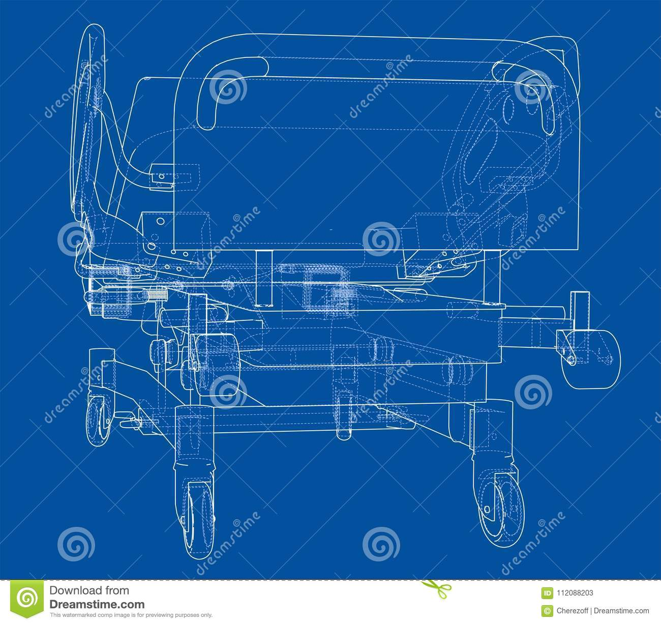 Hospital Bed Wiring Diagram Library Remote Control Diagrams Sketch Vector Rendering Of 3d Wire Frame Style The Layers