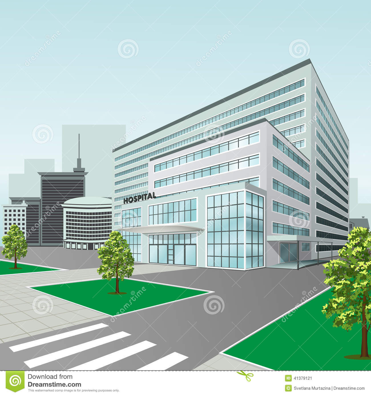 Hospital building on city background stock vector illustration of hospital building on city background malvernweather Gallery