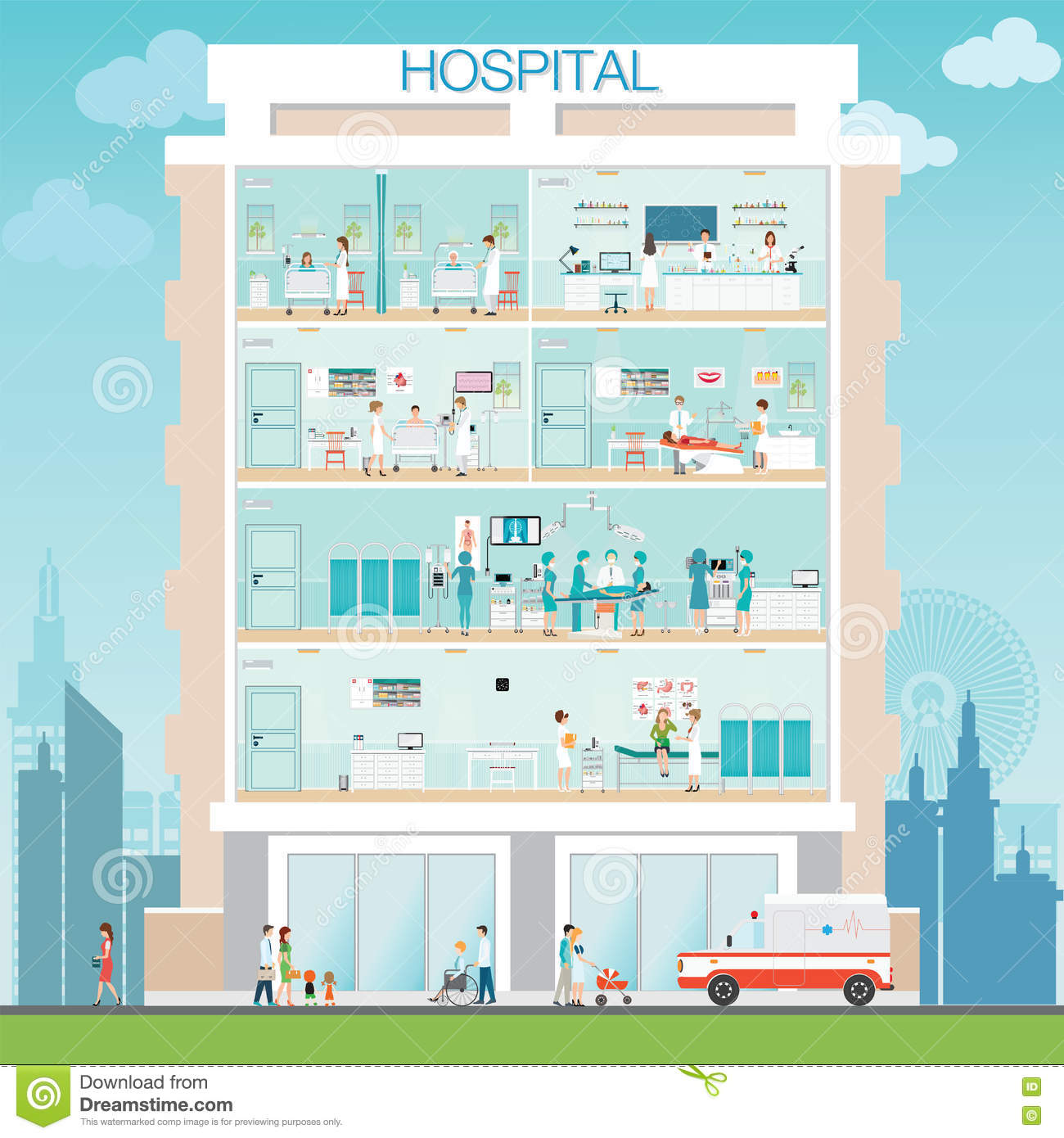 Maternity Hospital Floor Plan: Hospital Building Exterior With Doctor And Patient. Stock