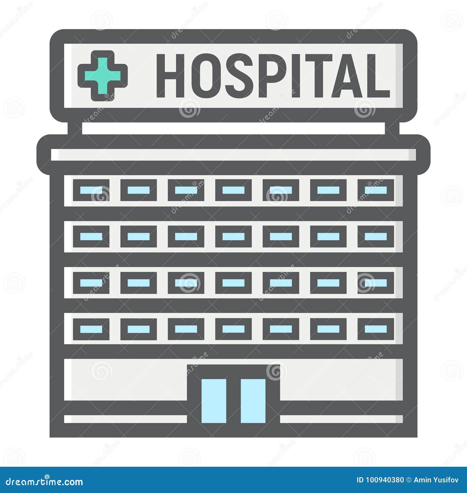 Hospital building filled outline icon, medicine
