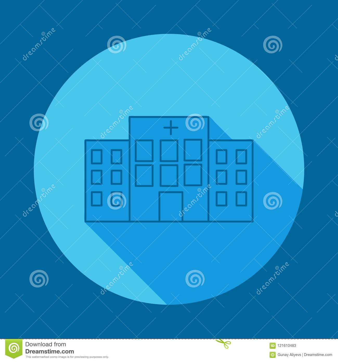 Hospital Building Front Flat Long Shadow Icon  Element Of