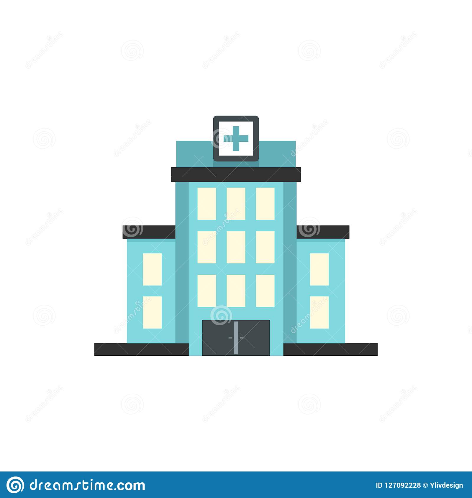 Hospital building icon, flat style