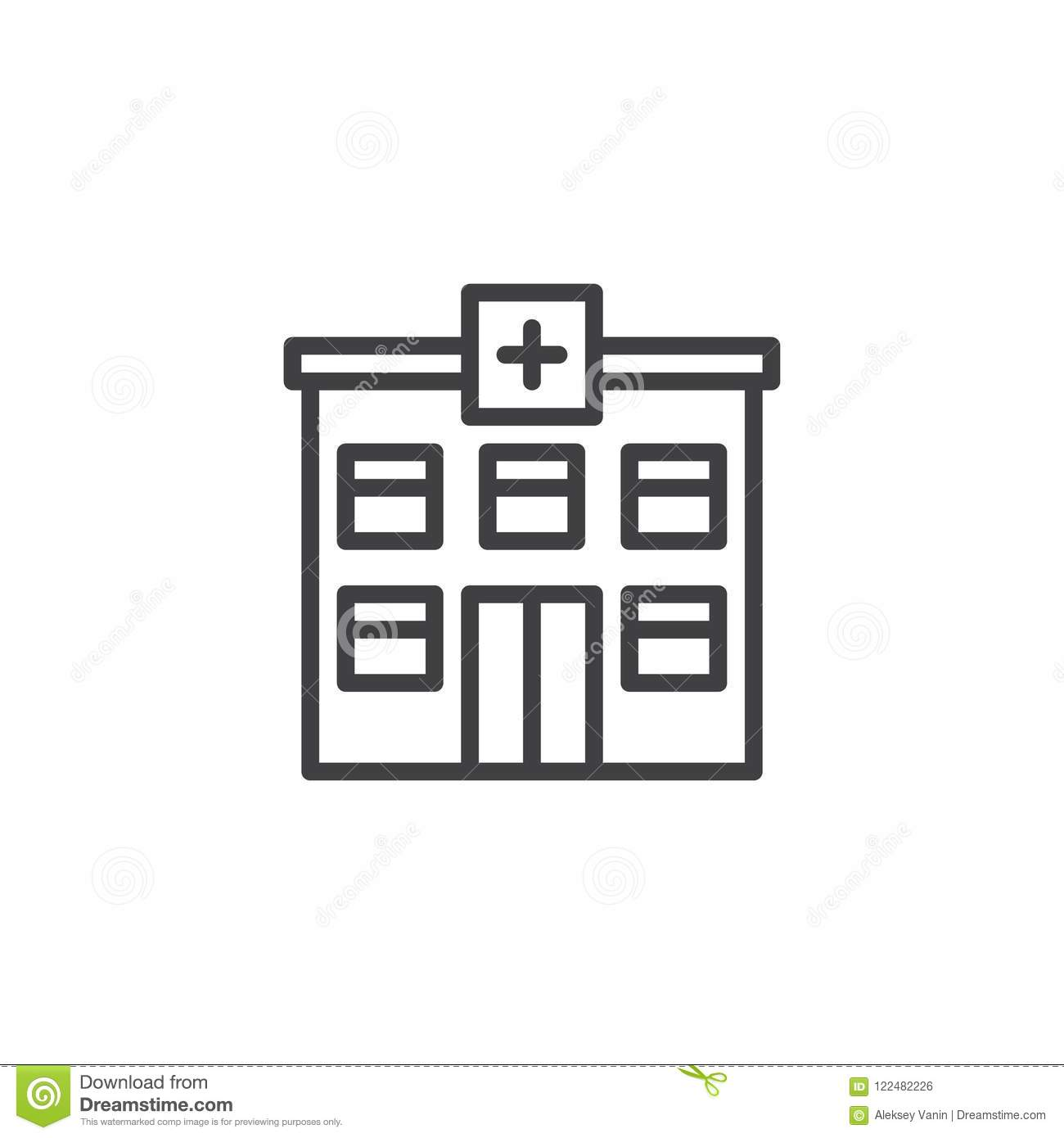 Hospital Building Outline Icon Stock Vector - Illustration