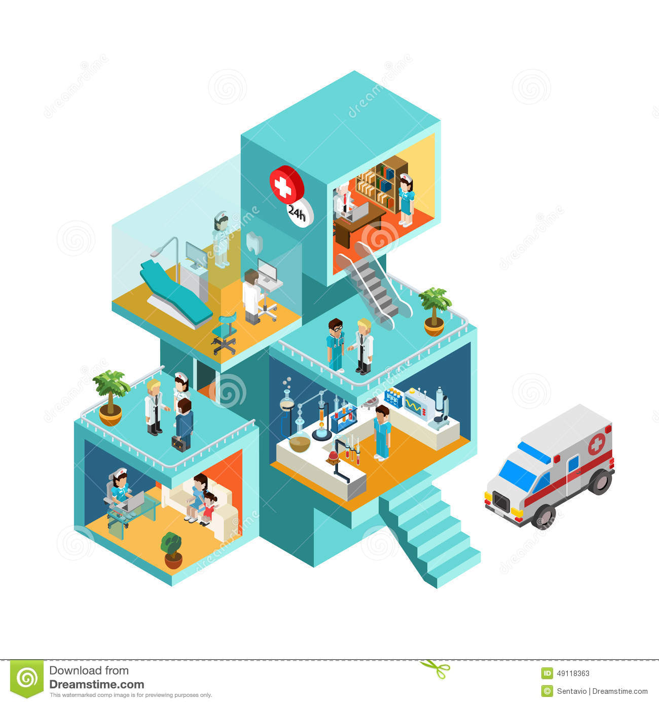 Hospital Building With People Flat 3d Web Isometric