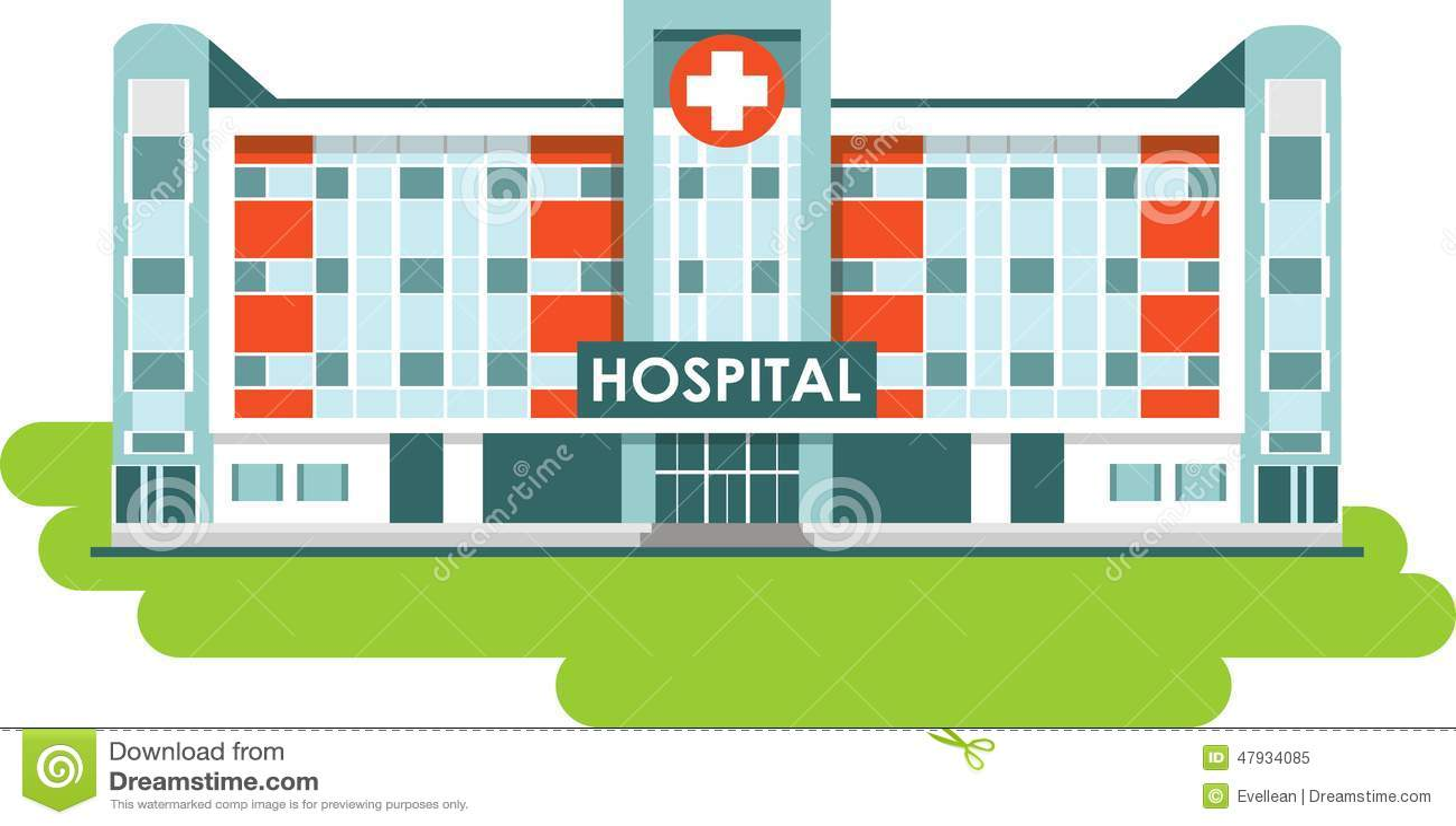 Stock Illustration Hospital Building White Background City Flat Style Image47934085 on Modern Office Building Plans