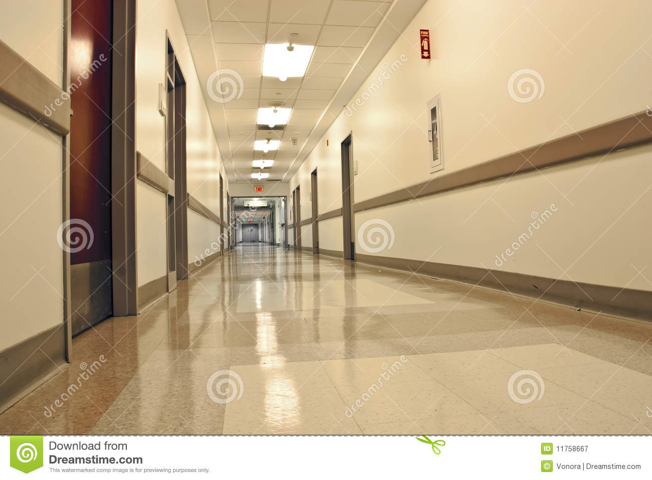 Hospital Corridor Stock Image Image Of Fluorescent Light