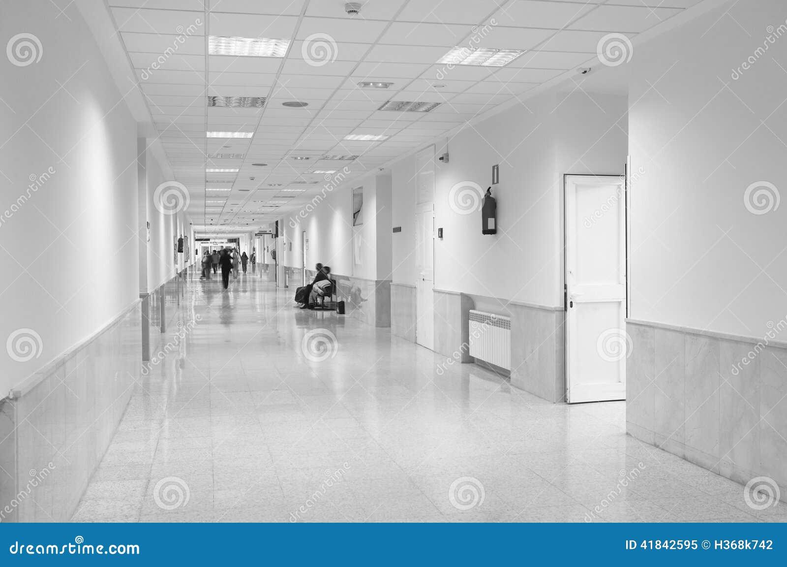 Hospital Corridor Lighting Design: Hospital Corridor In Black And White Stock Image