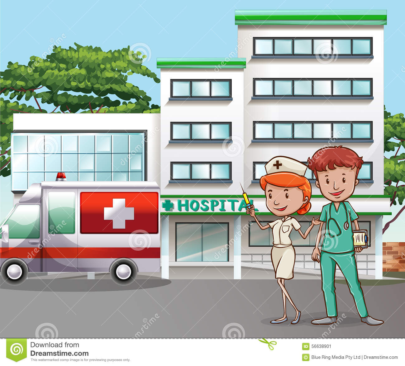 Hospital Stock Vector Image 56638901