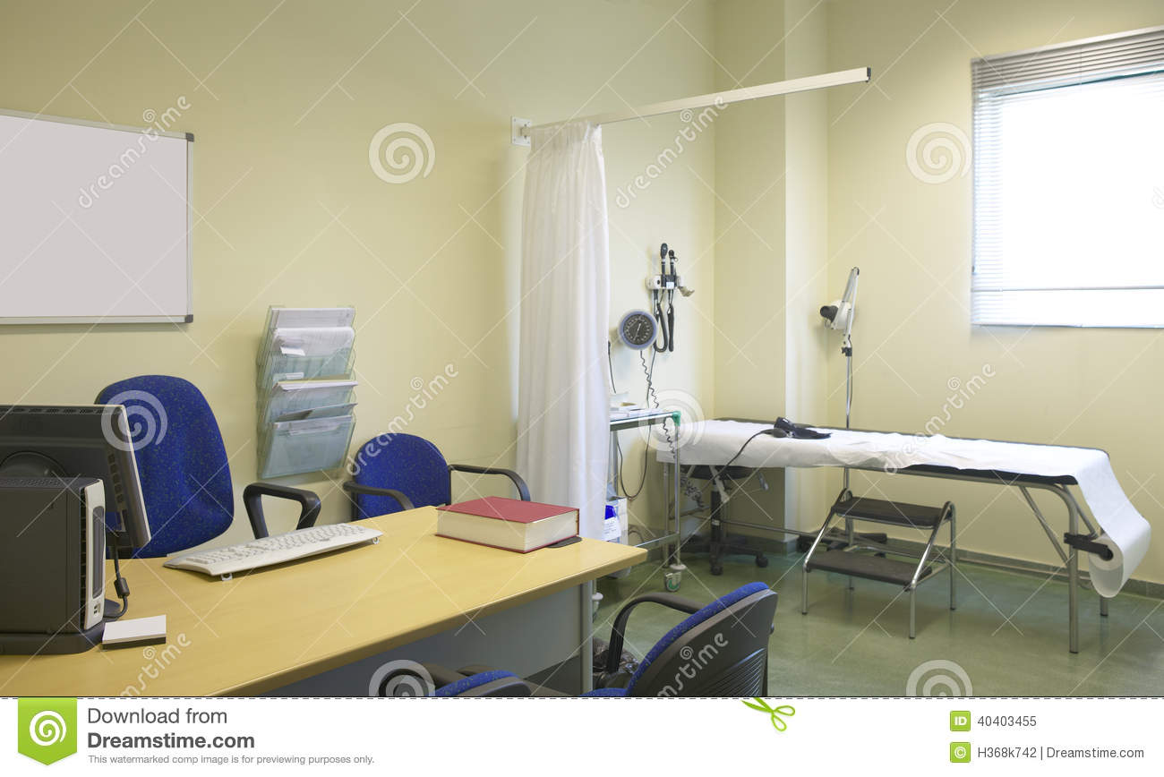hospital doctor room with equipment and desk stock photo image