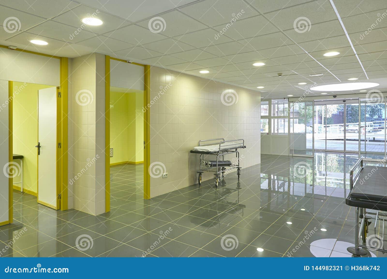 Hospital emergency entrance hallway. Health center indoor corridor