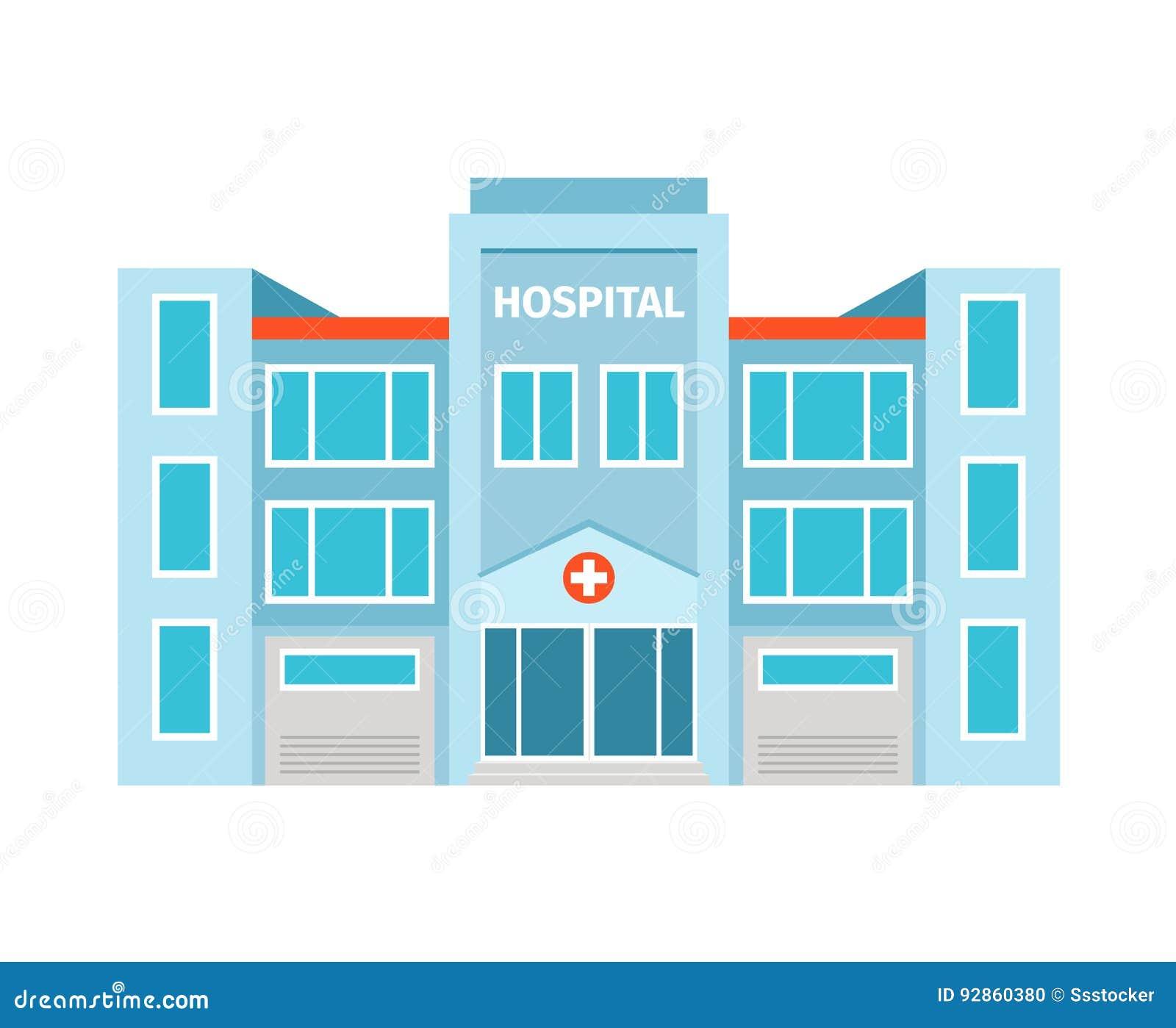 Hospital flat building icon