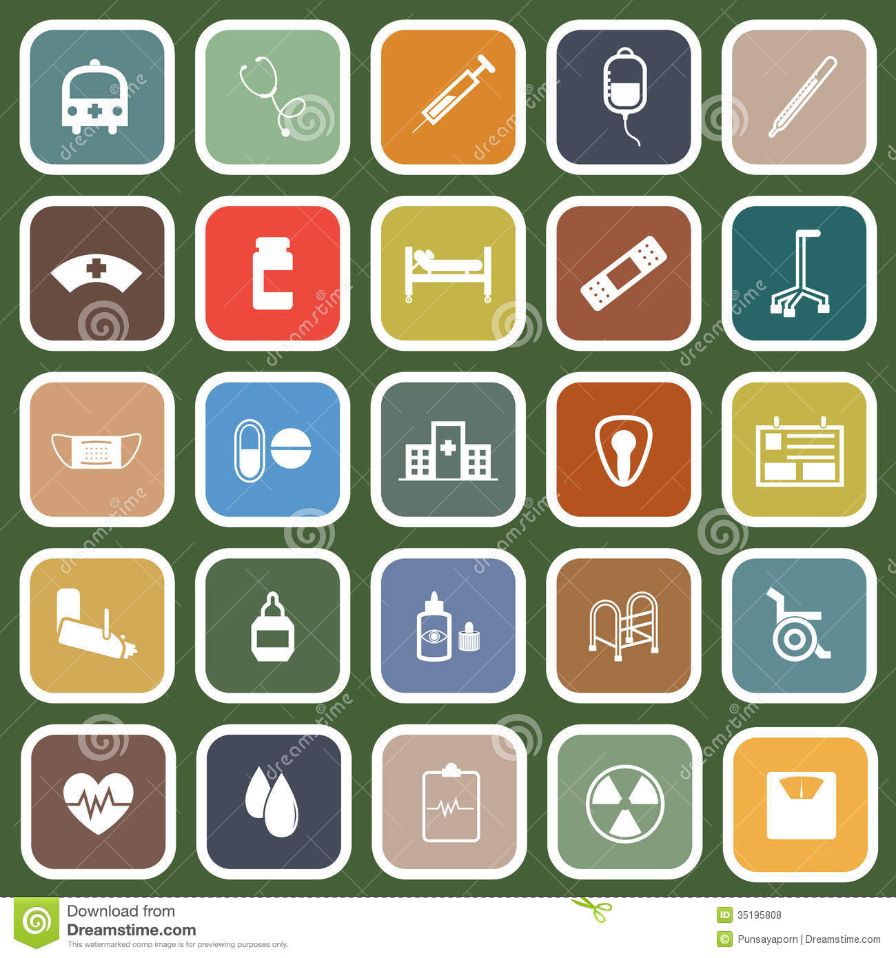 Hospital Flat Icons On Green Background Royalty Free Stock Photos ...