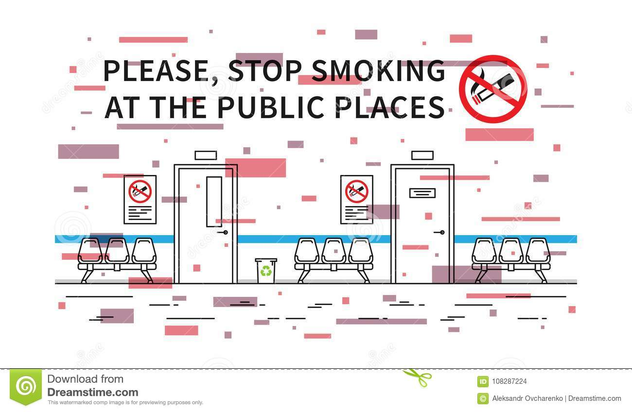 Hospital hall no smoking vector illustration with elements