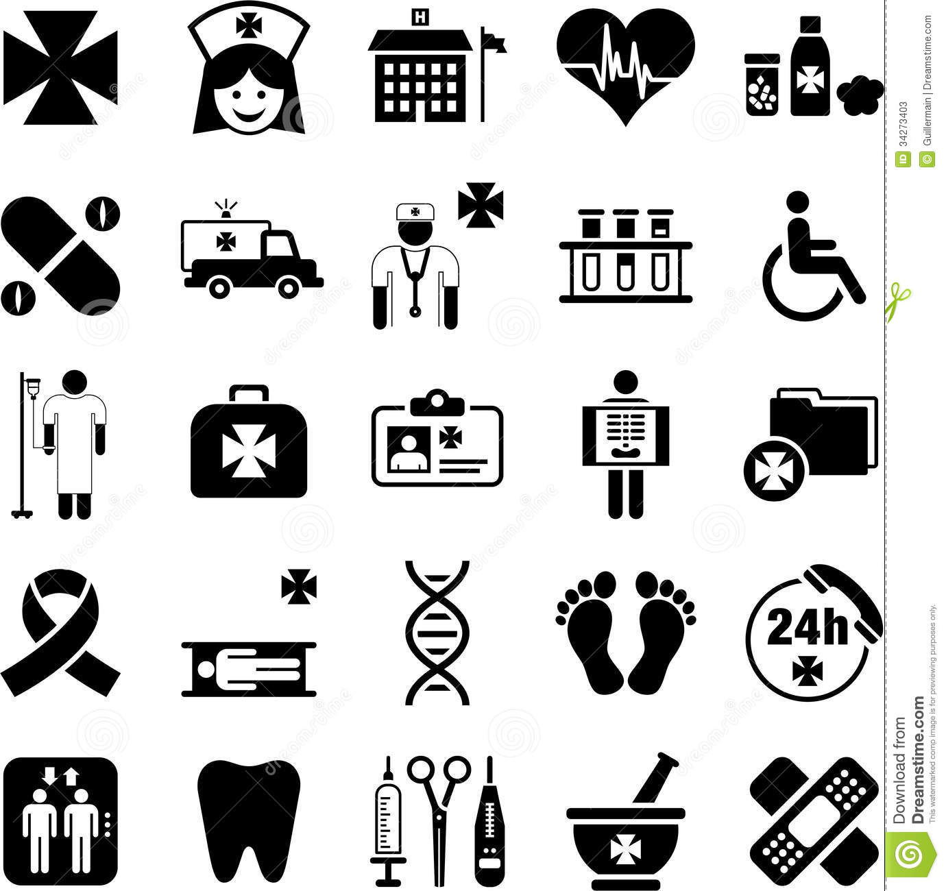 Hospital, Health And Medicine Icons Stock Photos - Image: 34273403
