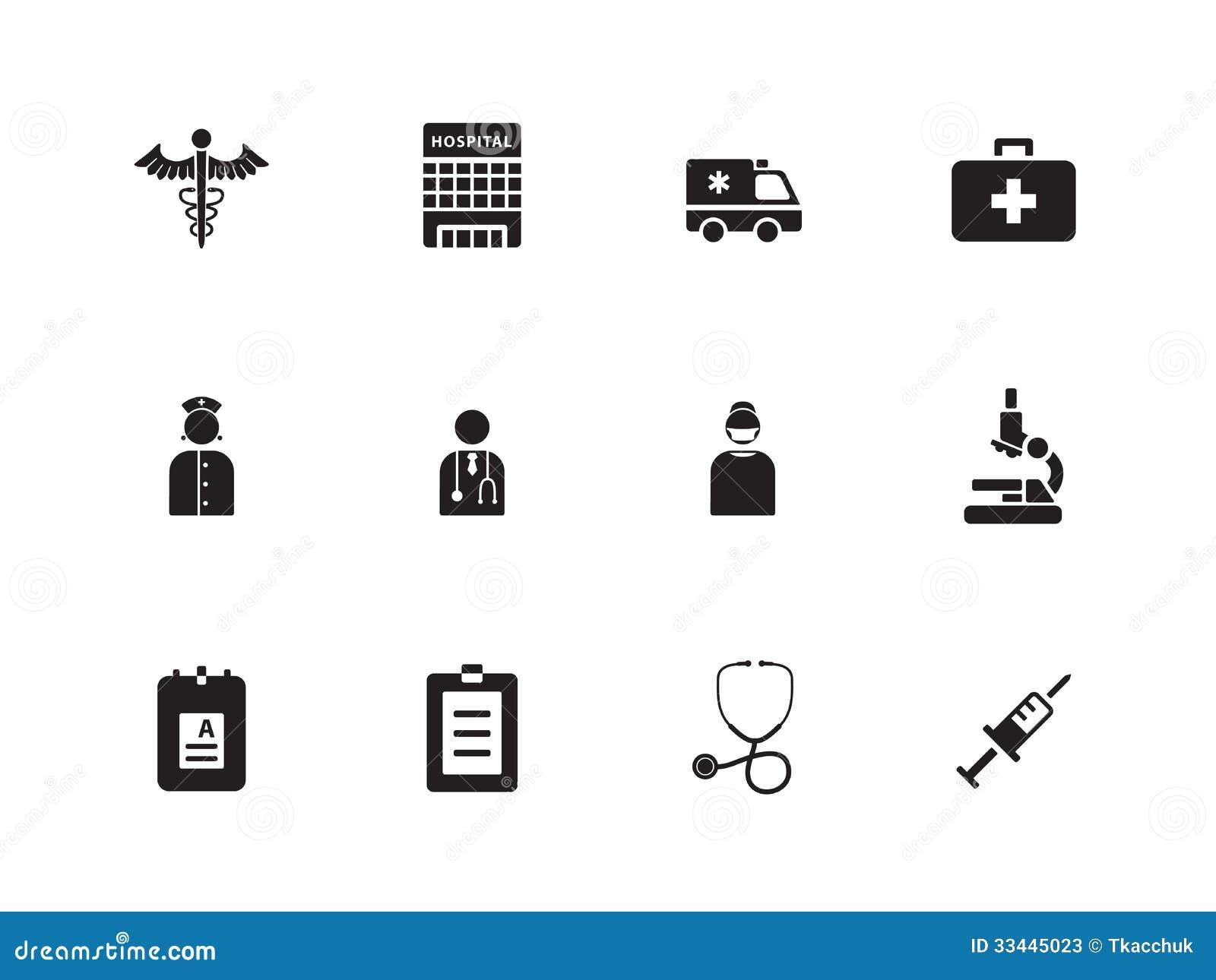 Hospital Icons On Whit...