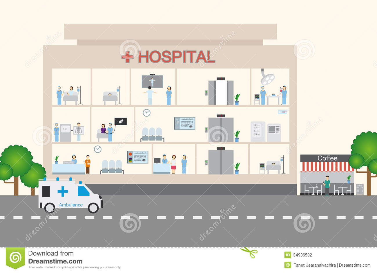 Drawing Floor Plan Hospital Infographic Amp Flat Design Stock Photography