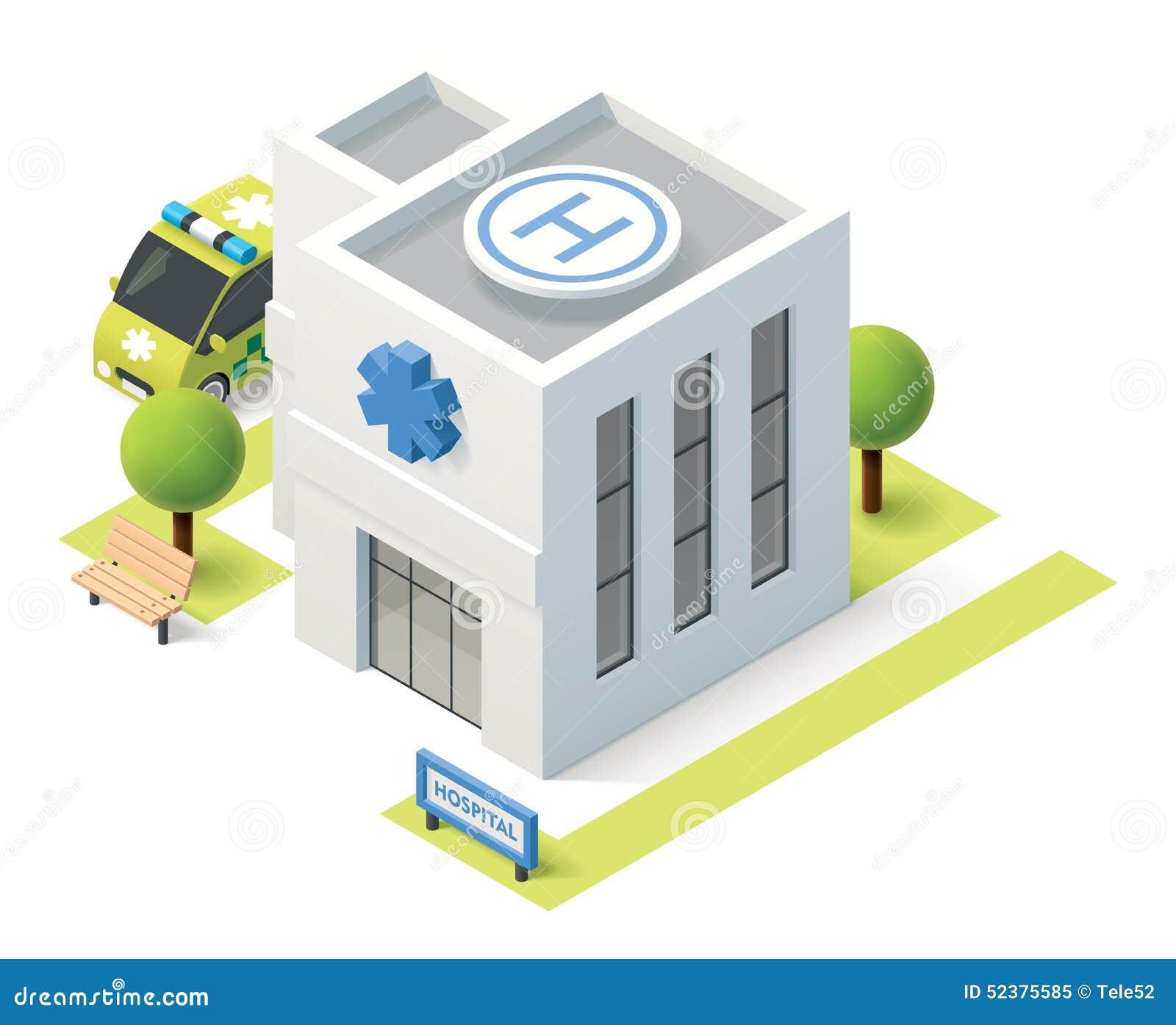 Hospital isométrico del vector