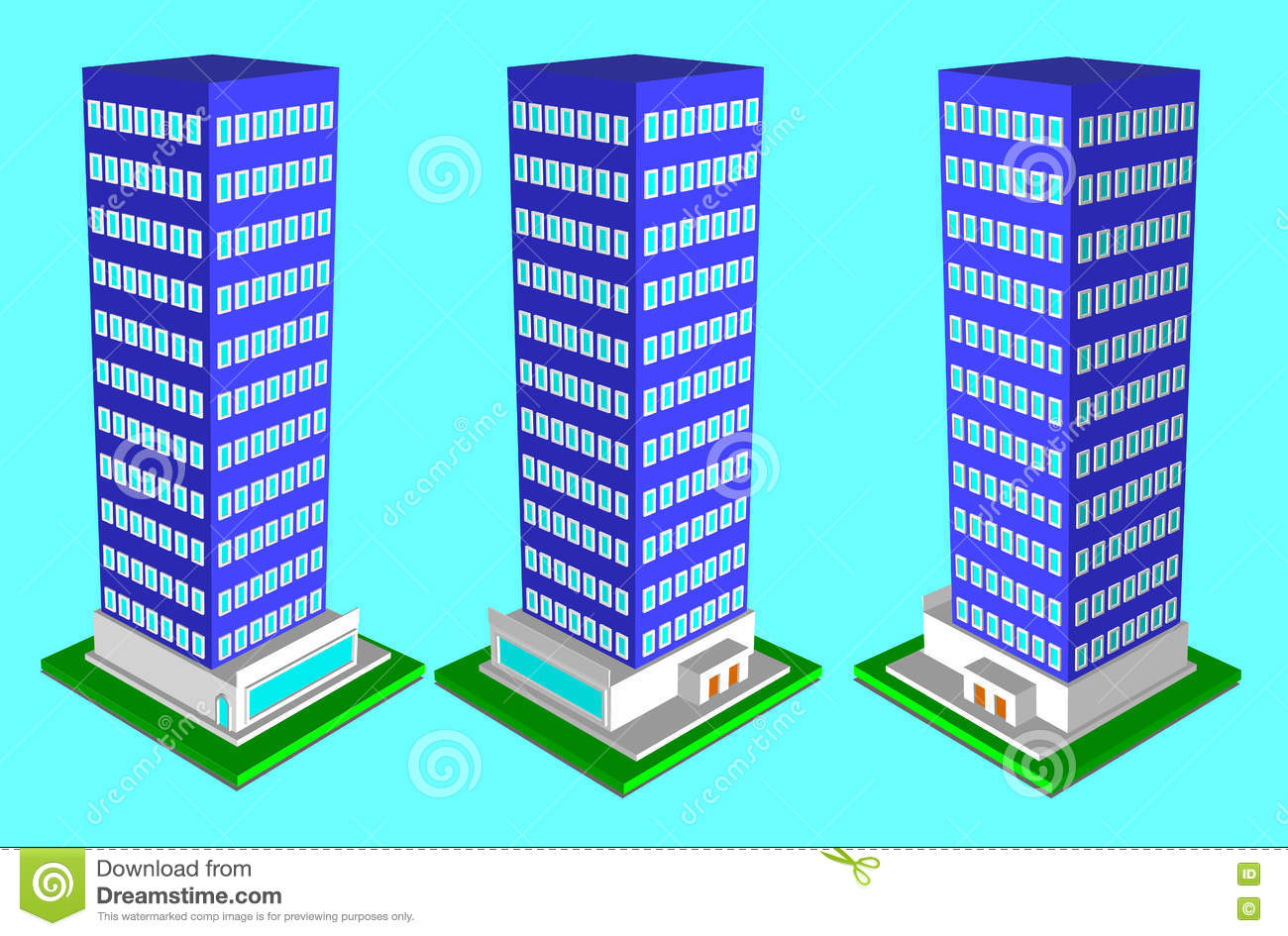 Hospital In Isometric Projection And Design Flete Stock