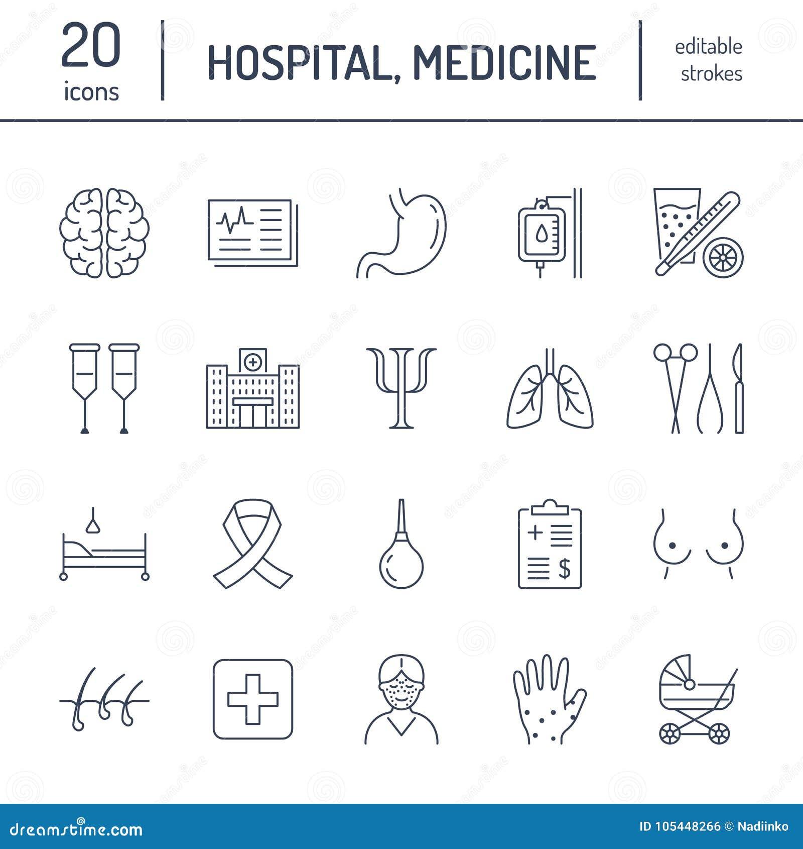 Hospital, línea plana médica iconos Órganos humanos, estómago, cerebro, gripe, oncología, cirugía plástica, psicología, pecho